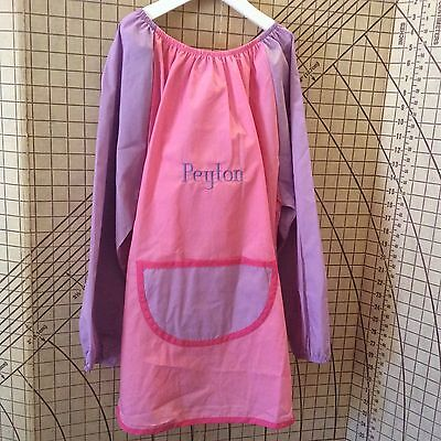 Pink personalised Polyester/Cotton Art Smock Size 8-10 choose your own name