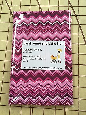 Bugaboo Donkey fitted sheet for carrycot bassinet Retro Pink Chevron