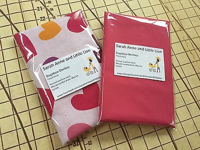 Bugaboo Donkey fitted sheet for carrycot bassinet Pink Heart Twin Pack
