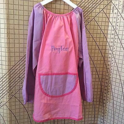 Pink personalised Polyester/Cotton Art Smock Size 5-7 choose your own name