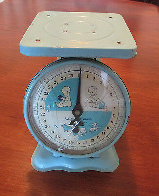 Vintage Antique Working Metal Nursery Baby Scale 0-30 pounds by ounces  BLUE