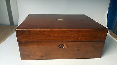 Wood & mother of pearl vintage Victorian antique work box