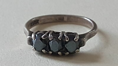 Solid silver & blue stone vintage Art Deco antique dress ring – size N