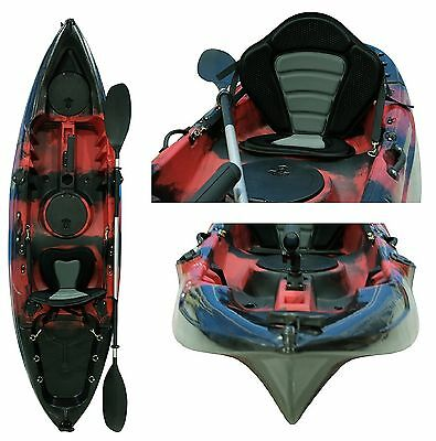 Fishing Kayak Sit on Kayaks 5 Rod Holders deluxe Seat & Paddle + dry bag - Red