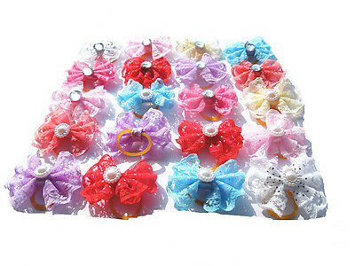 pet dog  hair bows rubber bands pet grooming hair bows 50pcs/lot