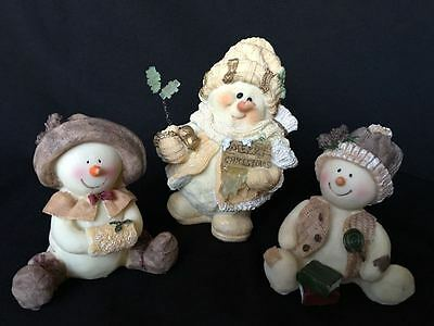 Set of 3 Boy Girl Hat Snowman Christmas Winter Holiday Figure Home Decoration