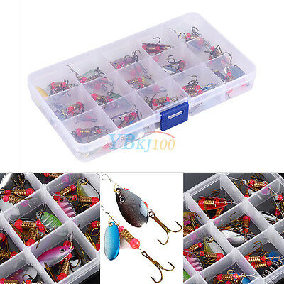 30pcs/Set Trout Spoon Assorted Fishing Lures Spinner Baits Bass Tackle W/ Case