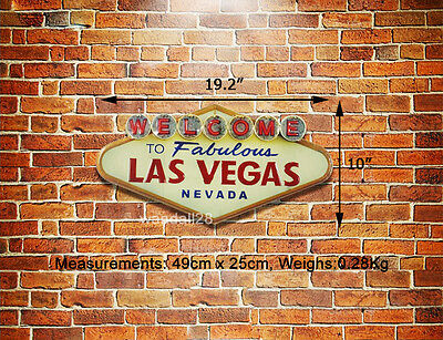 Welcome to Fabulous LAS VEGAS Nevada Embossed Metal Sign Icon Wall Decor Advert