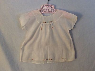 Vintage Baby Infant Sheer White Sleeping Gown Dress Delicate Embroidered Flowers