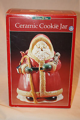 Holiday Time Ceramic SANTA COOKIE JAR LARGE CHRISTMAS DECORATION