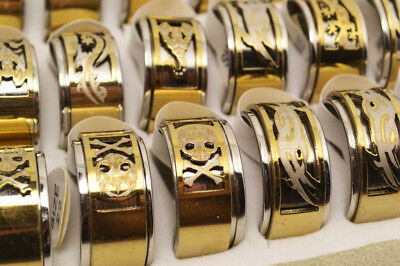 Lots 12pcs Stainless Steel Cut-Out Mixed Pattern 2 Layers Spinner Gold Ring 12MM