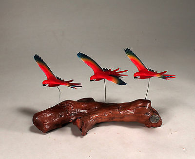 SCARLET MACAWS/PARROT Triad Statue Direct from JOHN PERRY 7in long Sculpture