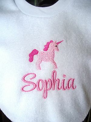 Personalised Baby Bib Embroidered GIFT Unicorn Christening Twins  Any name