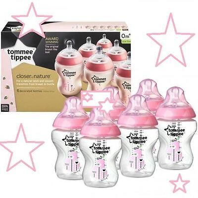 Tommee Tippee Closer To Nature 6X  260Ml Pink Decorated Baby Feeding Bottle Pack