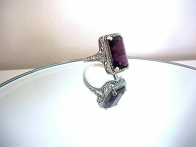Exquisite 8Ct Natural  Amethyst Victorian Style Ring ~ Sterling Silver 925