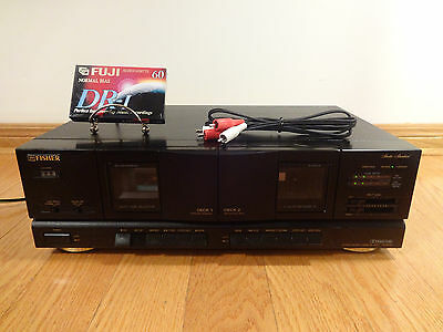 Fisher CR-W9325 Dual Cassette Tape Deck Auto-Reverse + RCA Cable TESTED Works!