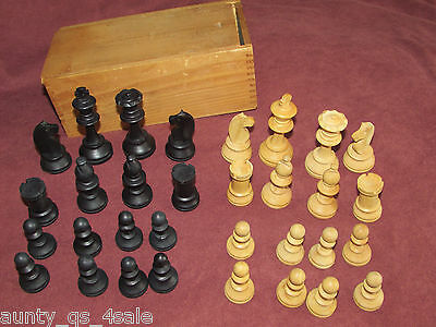 Antique vintage wood carved chess set 32 pieces in box