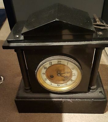 Antique  8 Day Black Slate Mantel Clock For Repair/spares