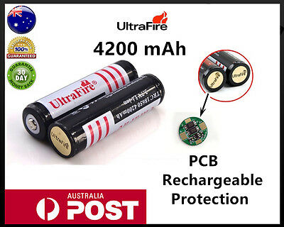 18650 Rechargeable battery LI-ION ULTRAFIRE Flashlight  Protected AU stock