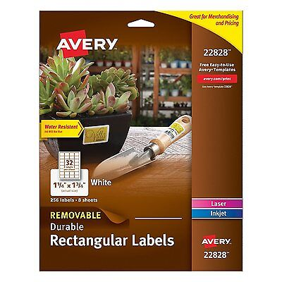 Avery Removable Durable Rectangular Labels, White, 1.25 x 1.75 Inches, Pack of