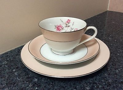 RC Pink Roses Cup, Saucer and side Plate Trio Made in Japan