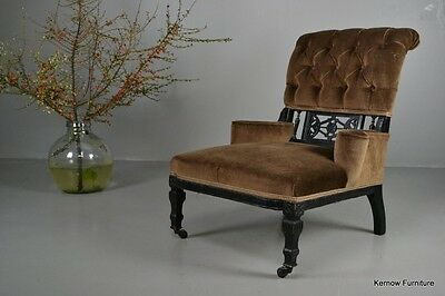 Antique Edwardian Small Ebonised Button Back Armchair Chair