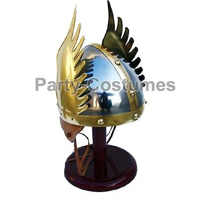 Medieval Knight Viking Helmet Winged Norman King Helm Fully Wearable with Liner