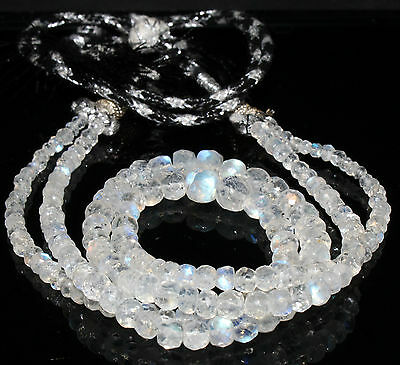 """13"""" Natural Blue Fire Play RAINBOW MOONSTONE Faceted Gemstone Beads Strand 1064"""