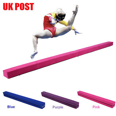 7FT Leather Mobile Gymnastics Folding Balance Beam Home Gym Training 3 Colours