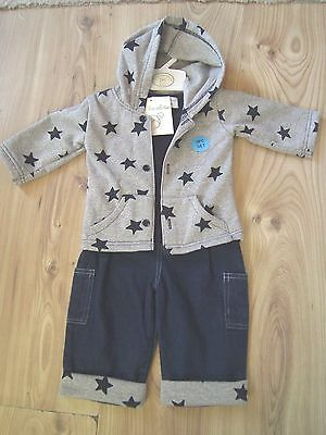 3 pc Outfit Set Hooded Star Jacket, Navy Denim Jeans, Black T-Shirt Boys 9-12mth