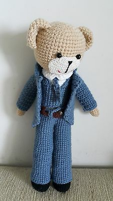 "Crochet bear doll 11 "" dressed the blue jacket suit with blue tie Handmade"
