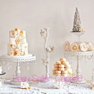 Set Of 3 White Iron Glass & Crystal Cupcake Cake Stand Wedding Party,Best Price!