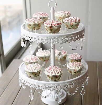 2 Tier White Iron Metal And Glass With  Lace Crystal Pendant Cupcake Cake Stand