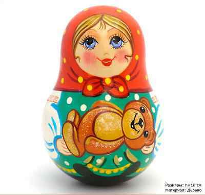 Russian Roly Poly Doll  toy with music wooden handmade souvenirs