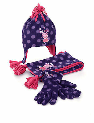 *NEW* Girls 3 Piece Peppa Pig Spotted Hat, Scarf & Gloves Set 6 - 18m by M&S