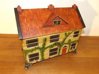Antique Large Regency Hand Painted House Tea Caddy. 1820's