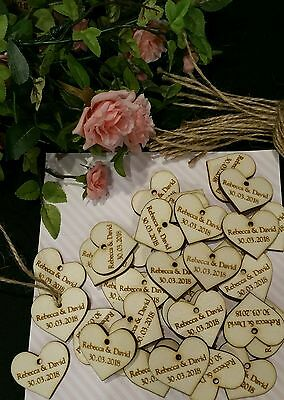 Personalised Wedding Hearts Gift Tags x 50 / Wedding Favours / Christening