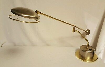 Vintage Brass Swing Arm Desk Lamp with Weighted Counterpart