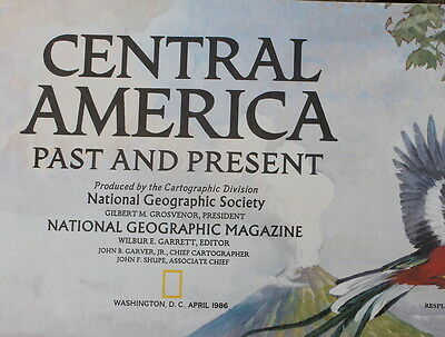 Central America Past & Present National Geographic Map / Poster April 1986