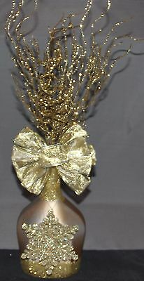 Handmade Decorated Liquor Bottle Christmas Theme Gold With Glitter Snowflake