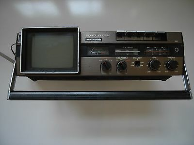 Sony FX412 UK Vintage Portable B/W TV, FM/AM/SW Radio, Cassette Combo Working