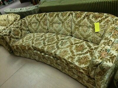 FLEXSTEEL Mid Century French Tufted Floral Sofa Couch Velour Velvet Cut Vintage