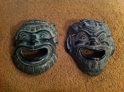 """Decorative Ceramic Chinese Wall Hanging Masks 10"""" Tall Lot Of 2"""