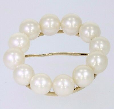 Cultured Akoya Pearl & 14ct Yellow Gold Classic Pin Brooch