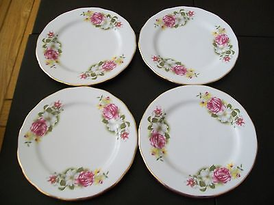 Four Queen Anne Side Plates - Flowers