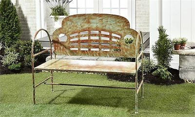 47.5'' Shabby Chic Patio Garden Bench Porch Path Chair Outdoor Deck Cast Iron