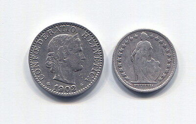 Switzerland - Two Beautiful Coins: 1902 B 20 Rappen & 1907 B Silver 1/2 Franc