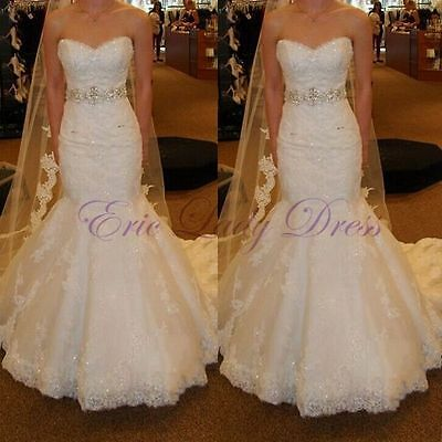 Mermaid White Ivory Wedding Dress Bridal Gown Custom Size:6 8 10 12 14 16 18 20+
