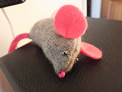 Hand made mouse soft toy from wool and felt, 36 months+