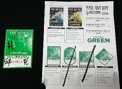 FALL OUT BOY, FOB Official Unused Working Pass & Original Production Memo